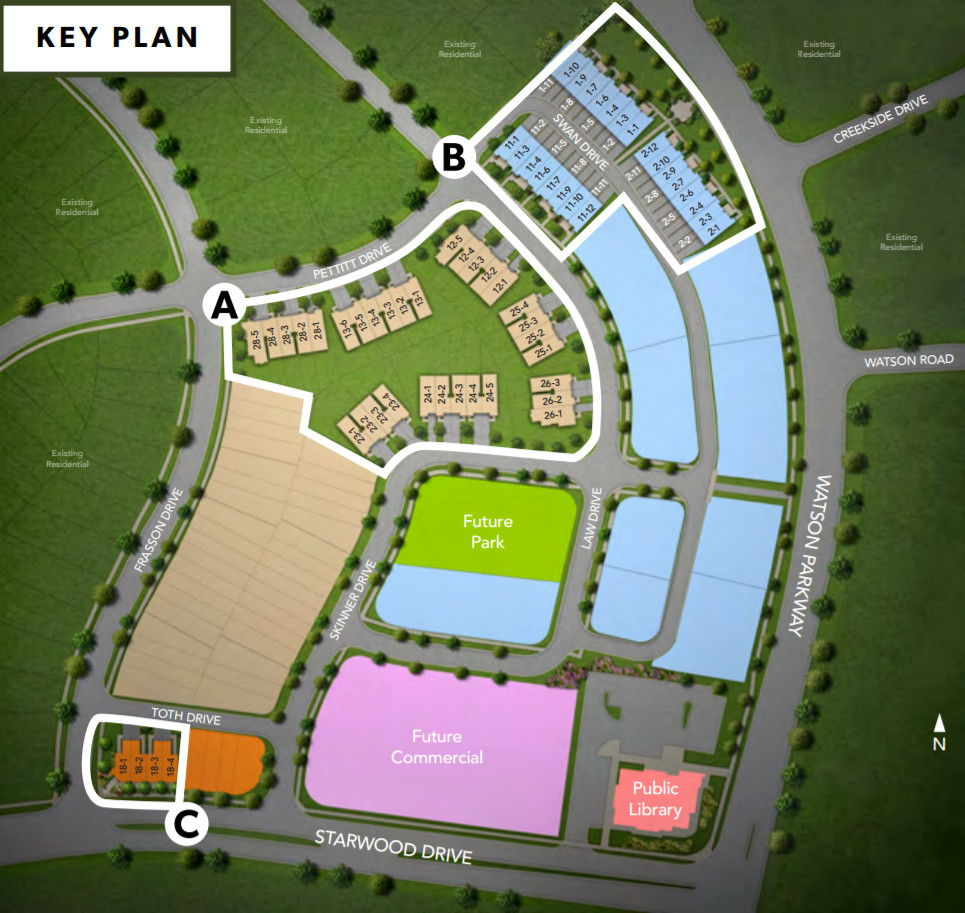 Site plan for Hometown in Guelph, Ontario