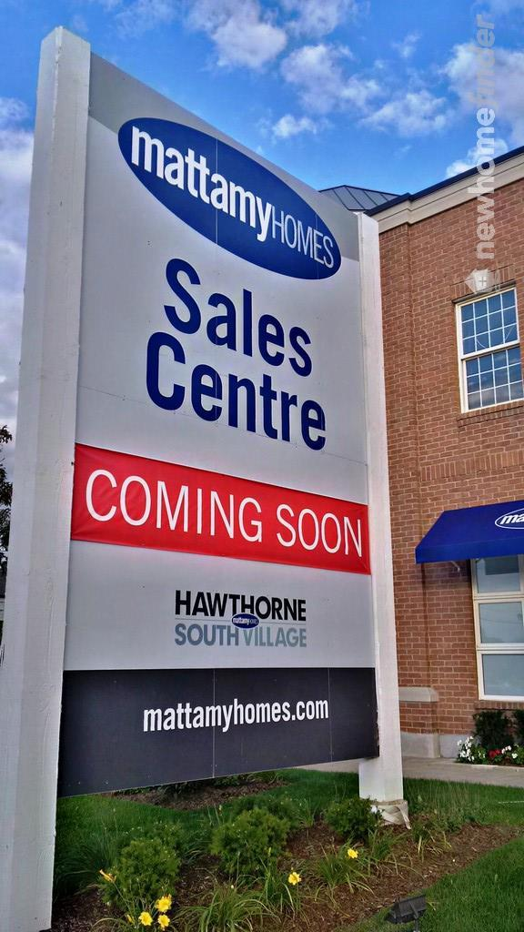 Hawthorne South Village sales office at 10180 Derry Road, Milton, Ontario