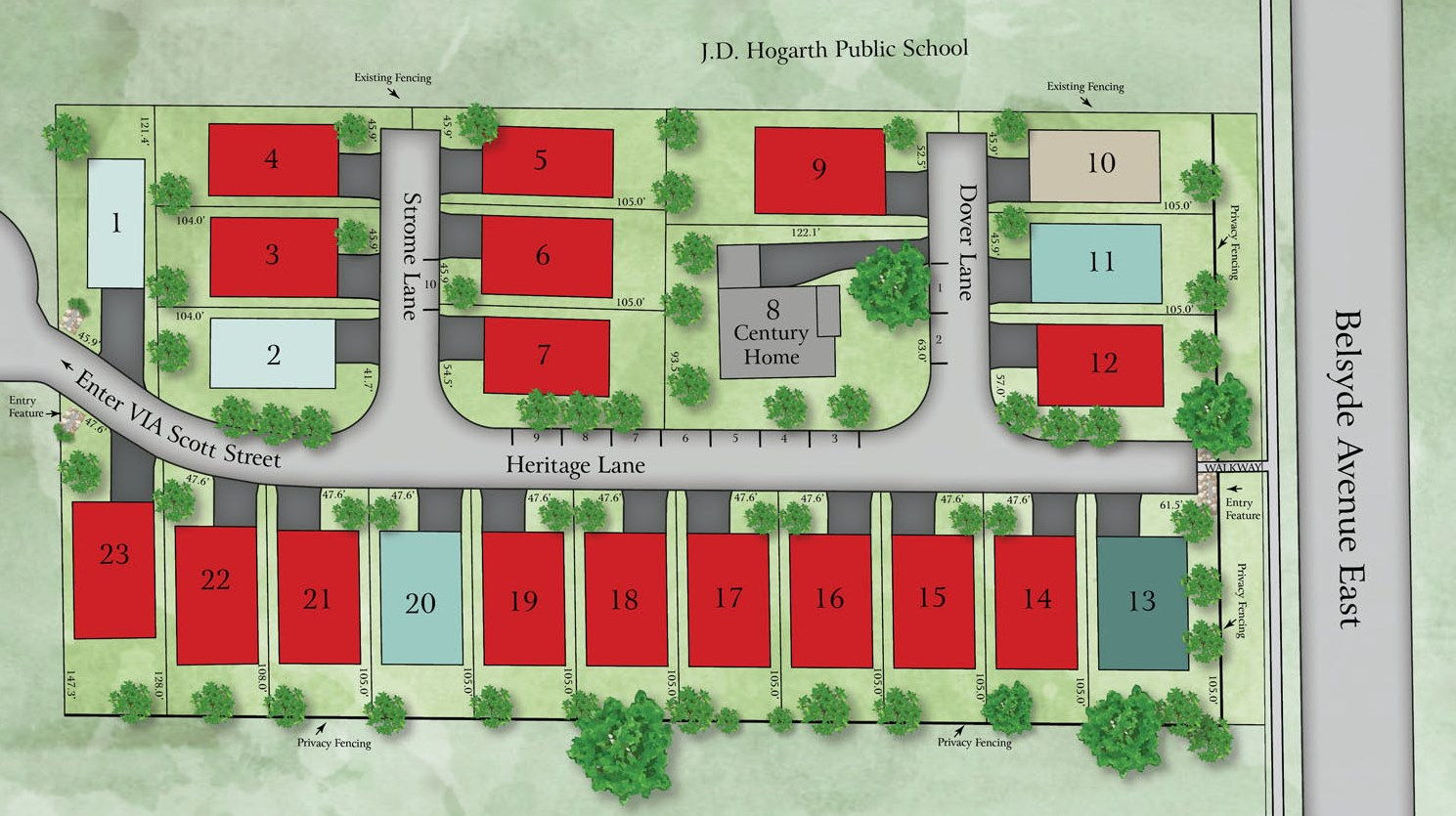 Site plan for Heritage Lane in Fergus, Ontario