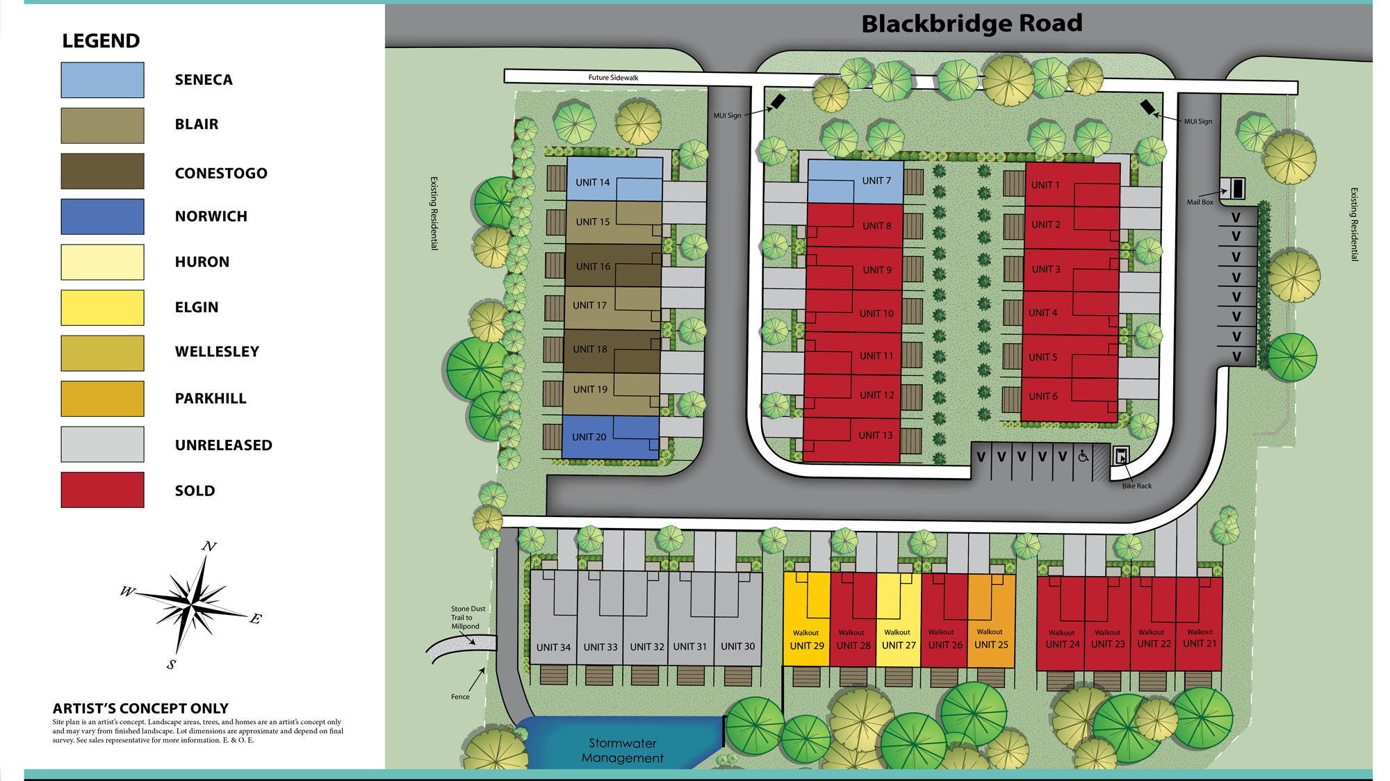 Site plan for Blackbridge Towns in Cambridge, Ontario