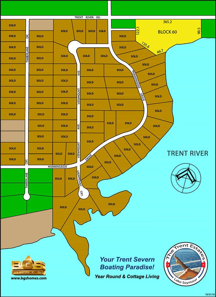 Site plan for Trent Estates in Lake Seymour, Ontario