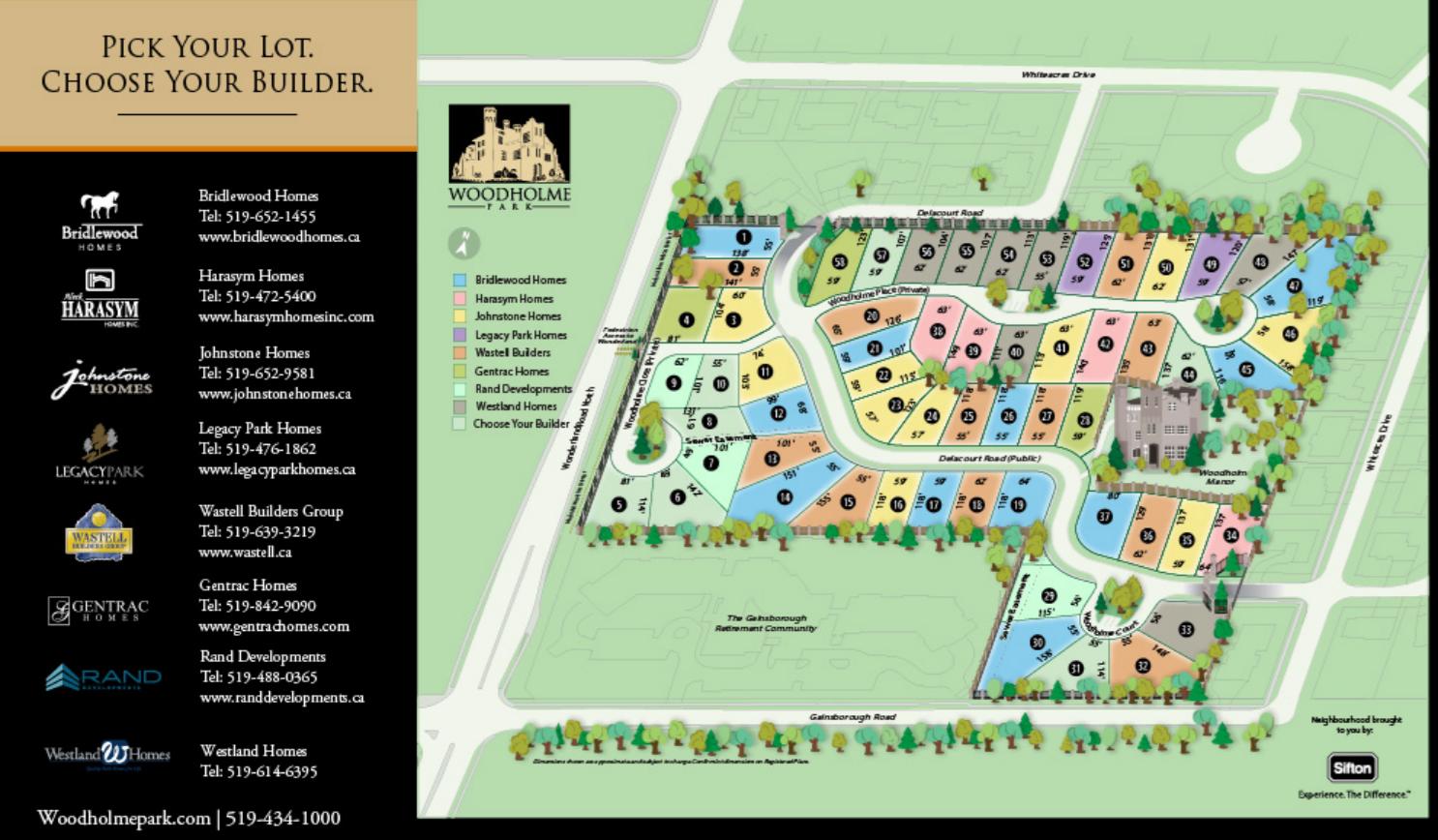 Site plan for Woodholme Park in London, Ontario