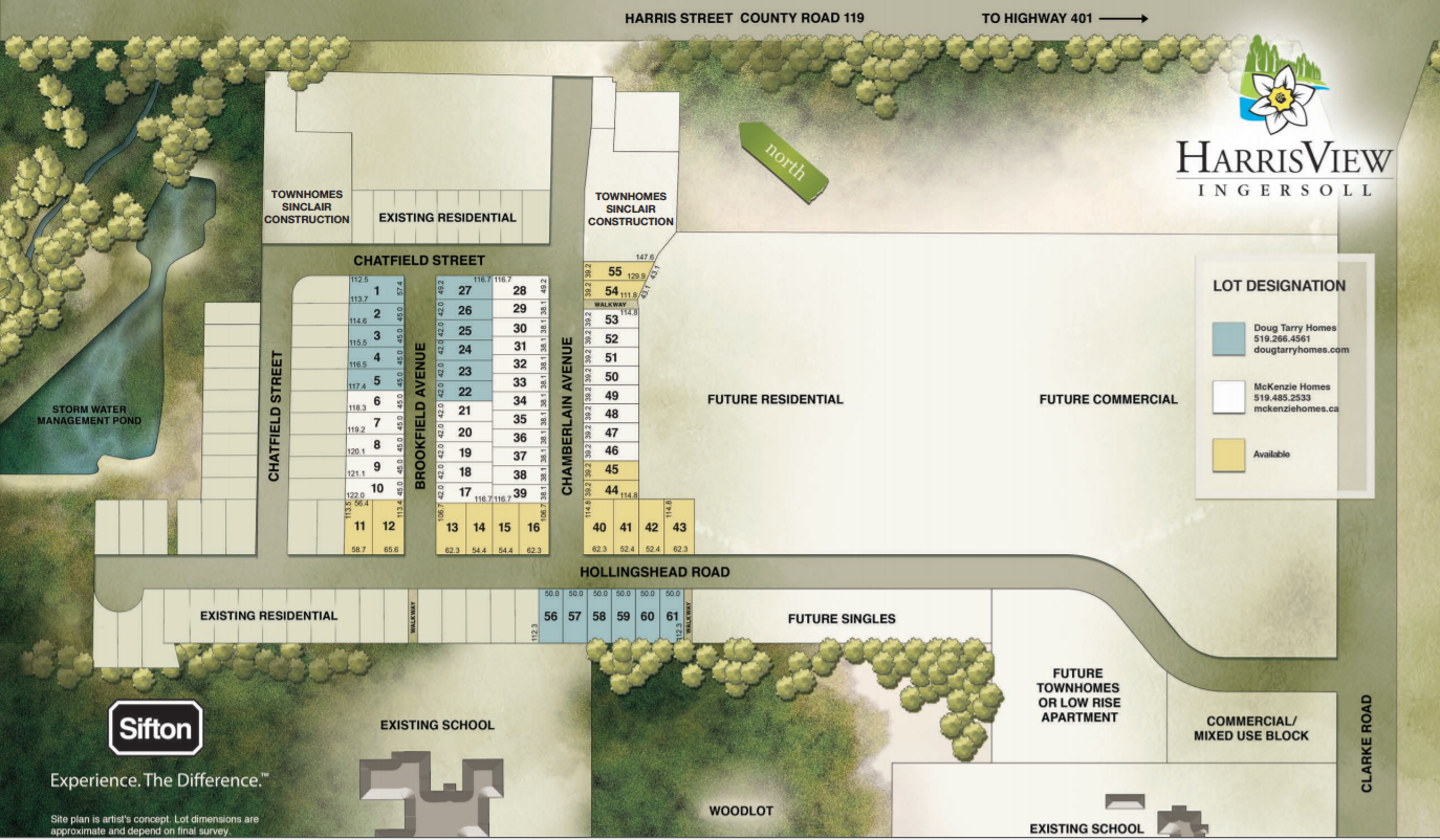 Site plan for Harrisview in Ingersoll, Ontario