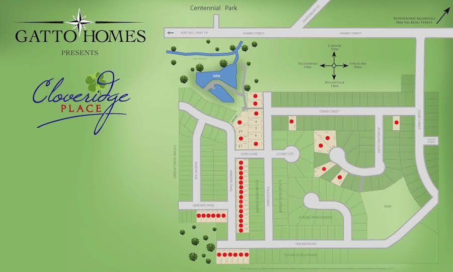 Site plan for Cloveridge Place in Ingersoll, Ontario