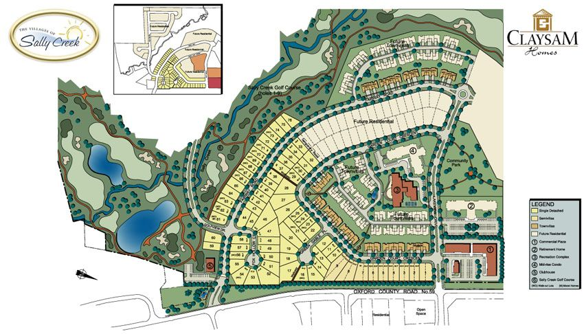 Site plan for The Villages of Sally Creek in Woodstock, Ontario