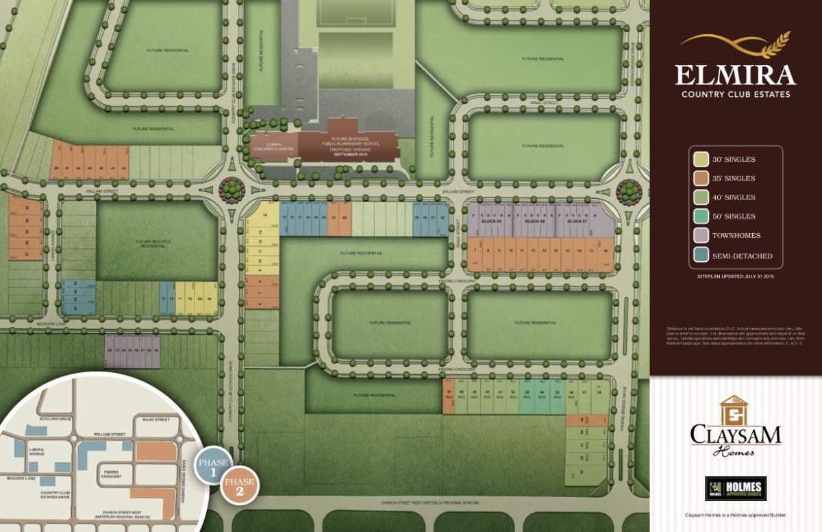 Site plan for Elmira Country Club Estates in Elmira, Ontario
