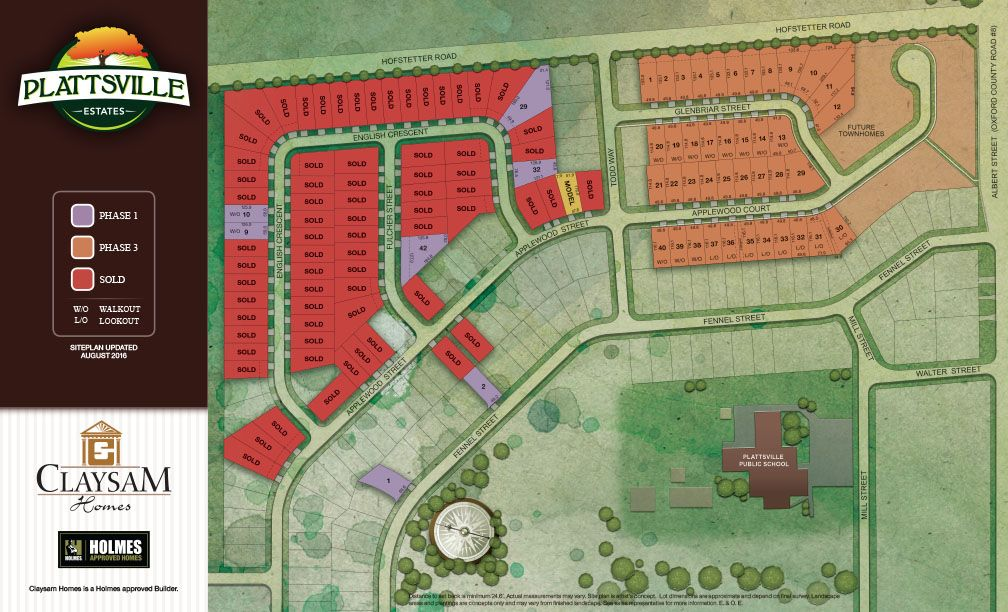Site plan for Plattsville Estates in Plattsville, Ontario