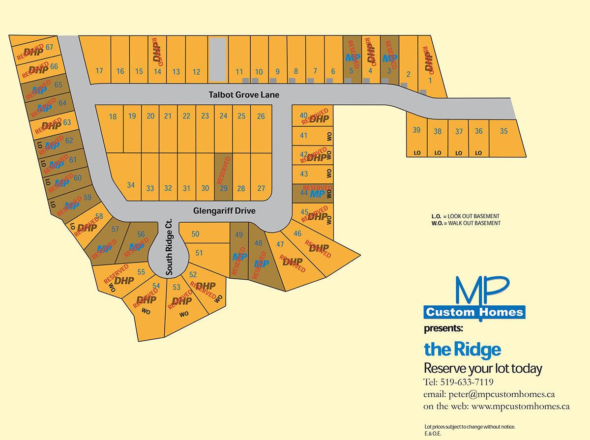 Site plan for The Ridge in Southwold Township, Ontario