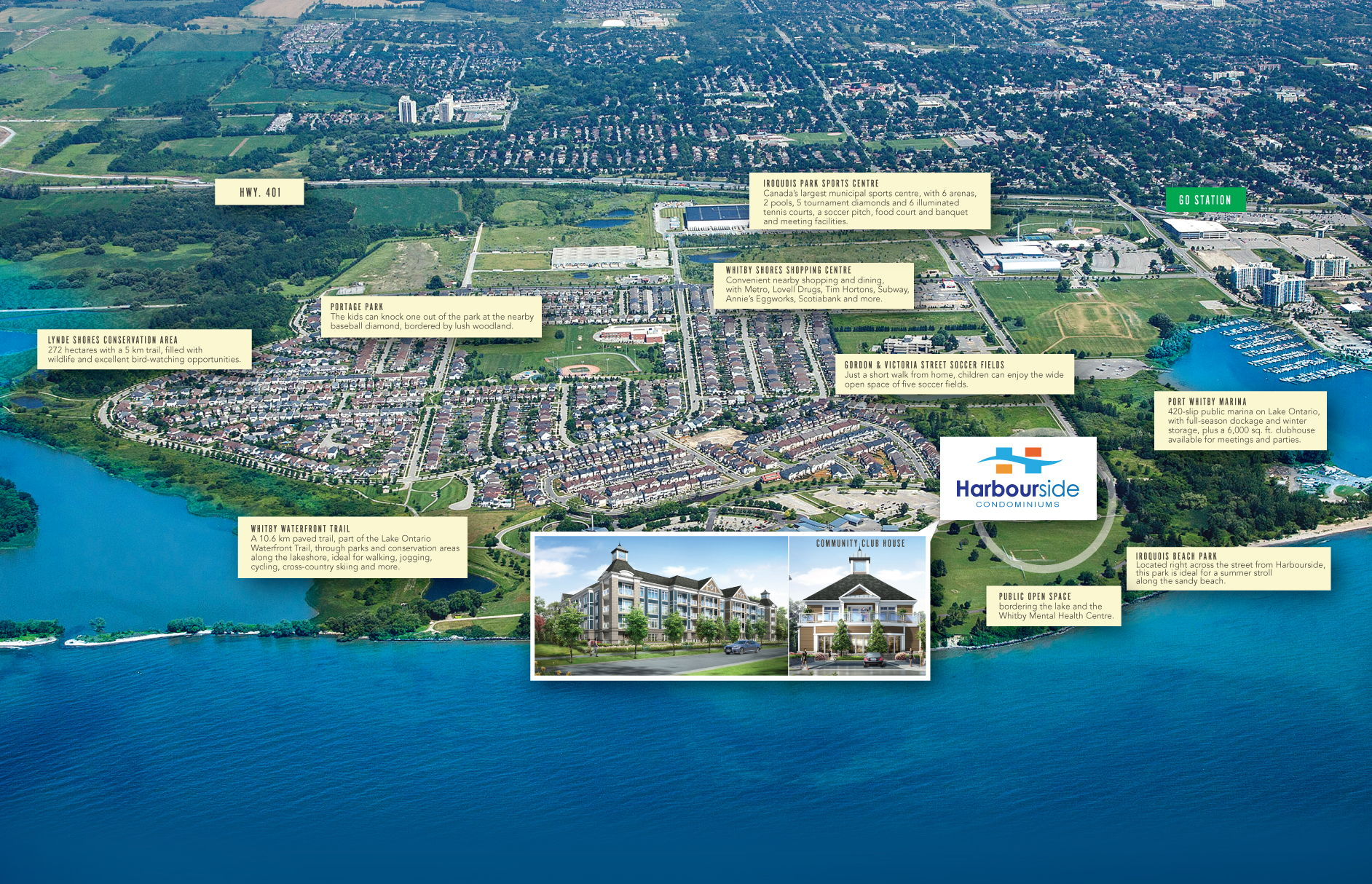 Site plan for Harbourside in Whitby, Ontario
