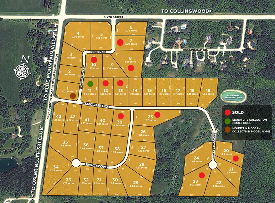 Site plan for Windrose Estates in Collingwood, Ontario