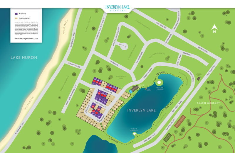 Site plan for Inverlyn Lake Estates in Kincardine, Ontario