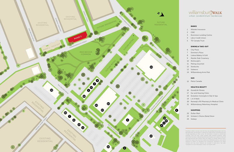 Site plan for Williamsburg Towns in Kitchener, Ontario