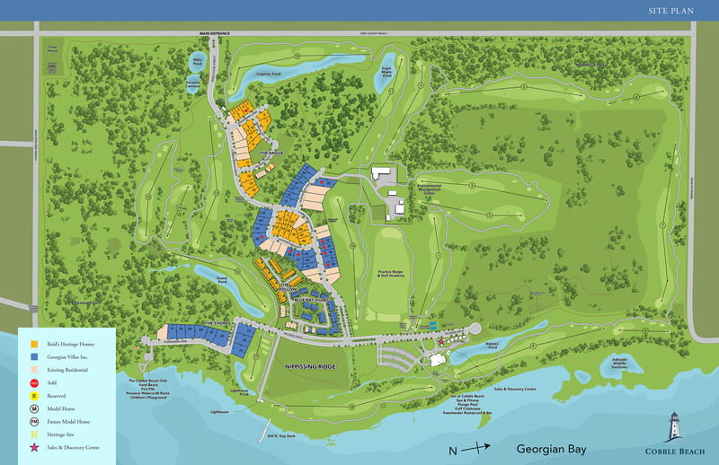 Site plan for Cobble Beach in Kemble, Ontario