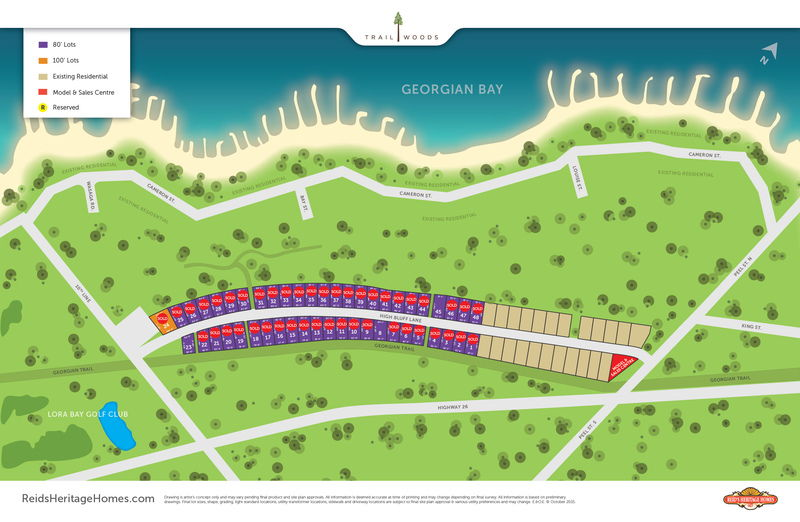 Site plan for Trailwoods in Thornbury, Ontario