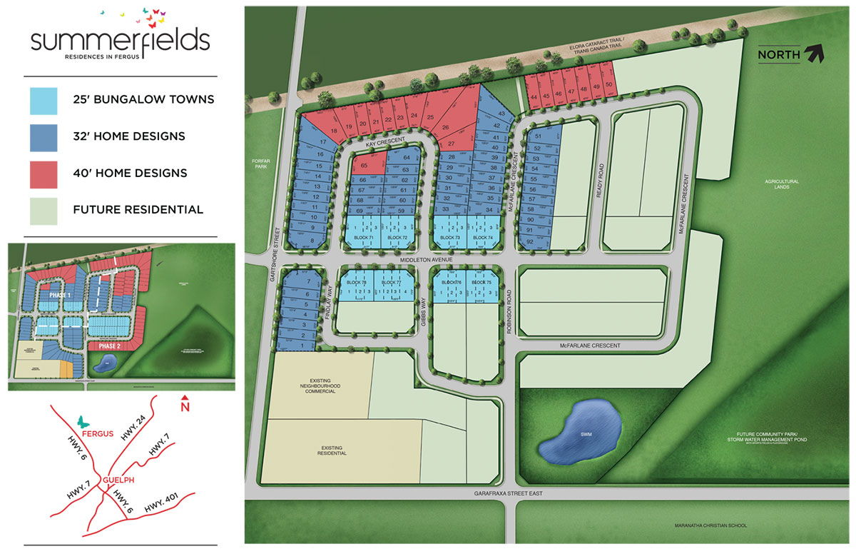 Site plan for Summerfields in Fergus, Ontario