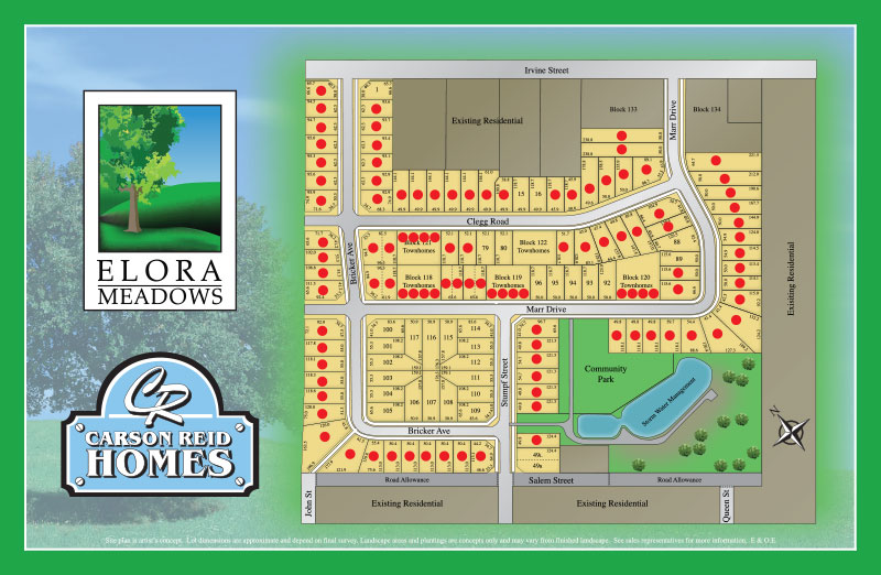 Site plan for Elora Meadows in Elora, Ontario