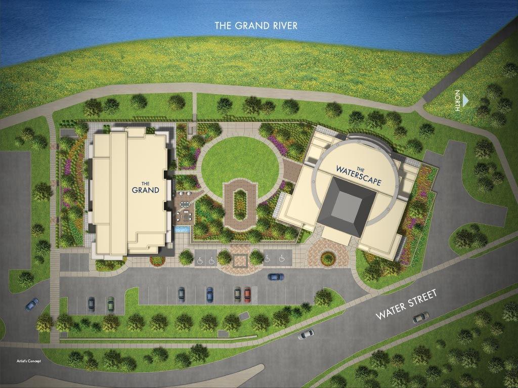 Site plan for Grand Condominium in Cambridge, Ontario