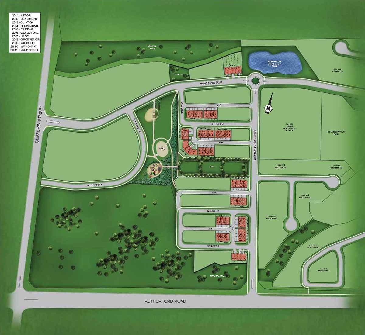 Site plan for Coronation Towns in Vaughan, Ontario