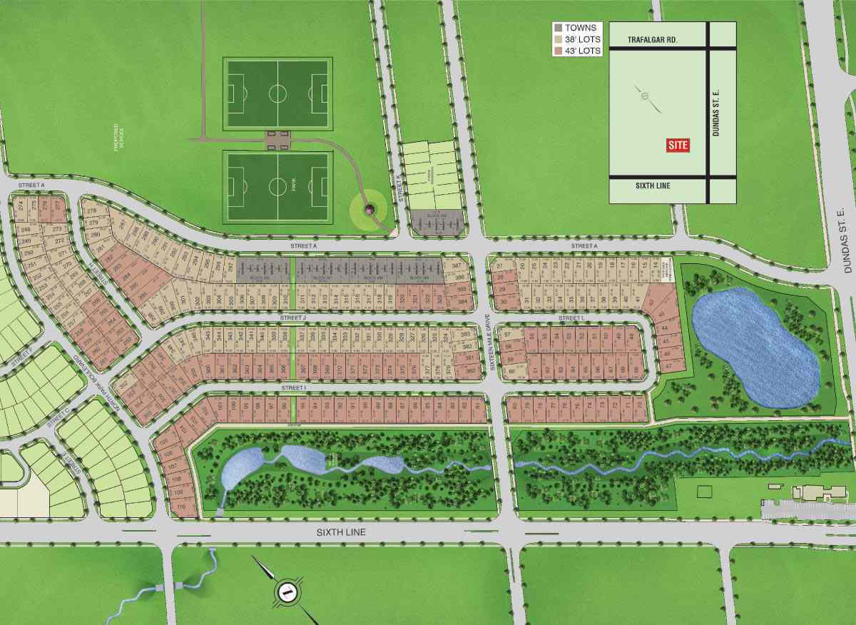 Site plan for Seven Oaks in Oakville, Ontario