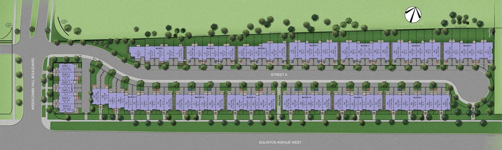 Site plan for Widdicombe & Eglinton in Toronto, Ontario