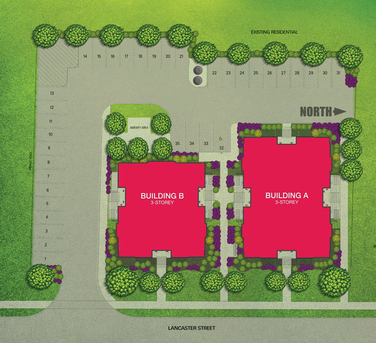 Site plan for Fit Condos in Kitchener, Ontario