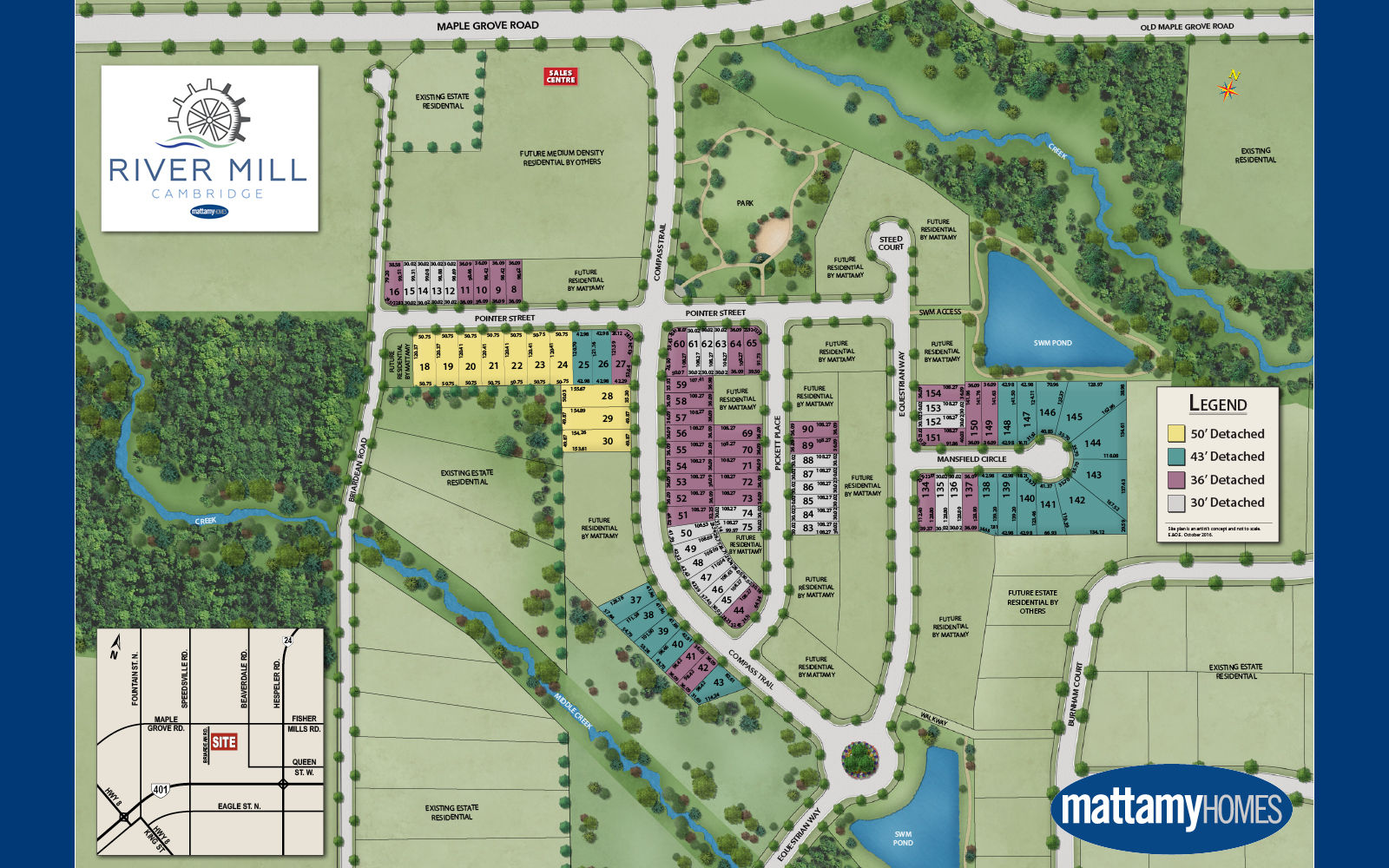 Site plan for River Mill in Cambridge, Ontario