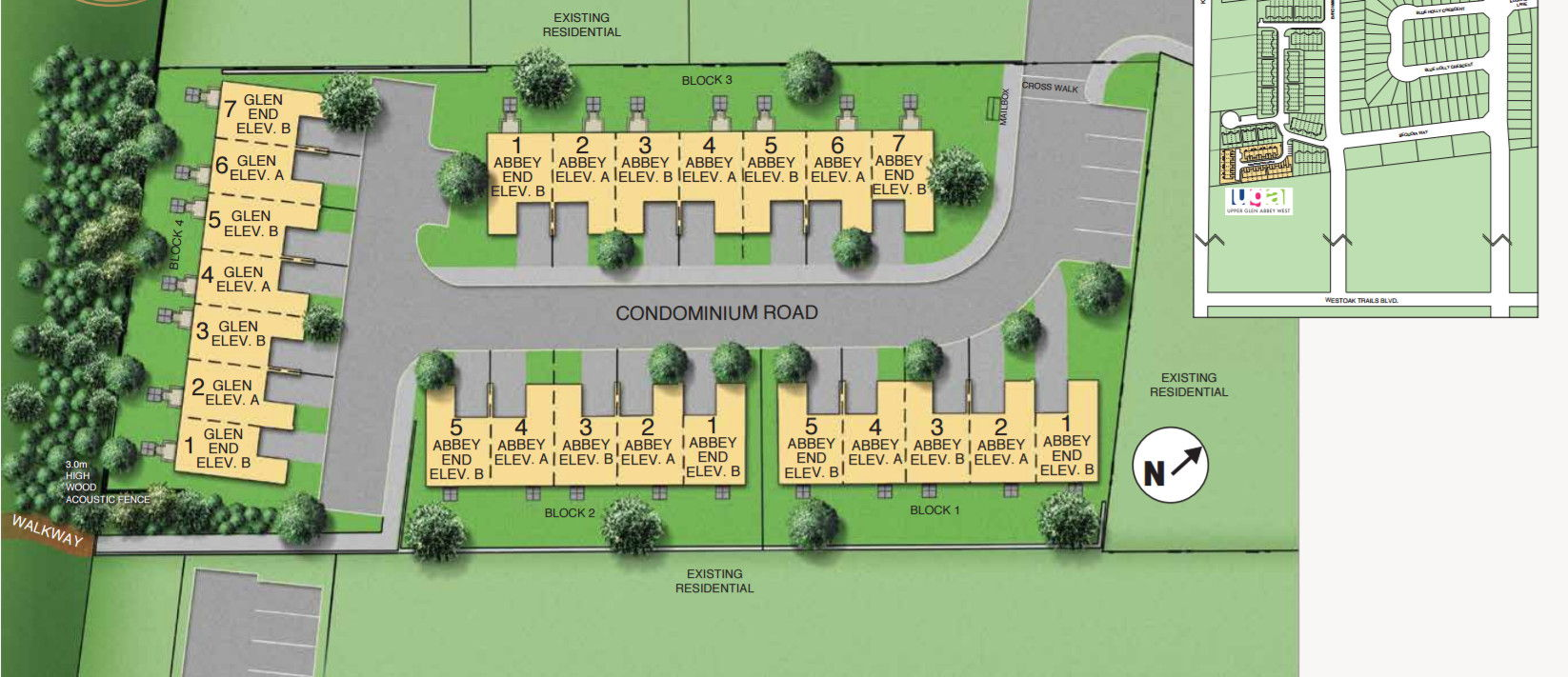 Site plan for Upper Glen Abbey West in Oakville, Ontario