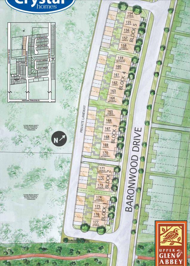 Site plan for Upper Glen Abbey Rear Lane in Oakville, Ontario