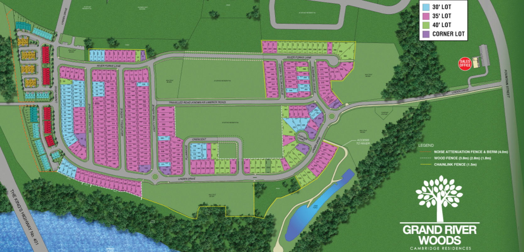 Site plan for Grand River Woods (Cr) in Cambridge, Ontario