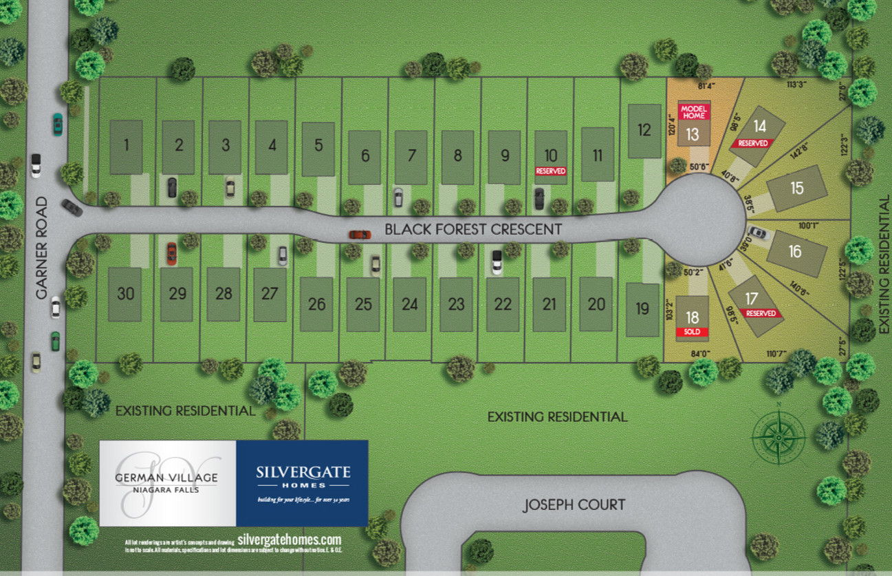 Site plan for German Village in Niagara Falls, Ontario