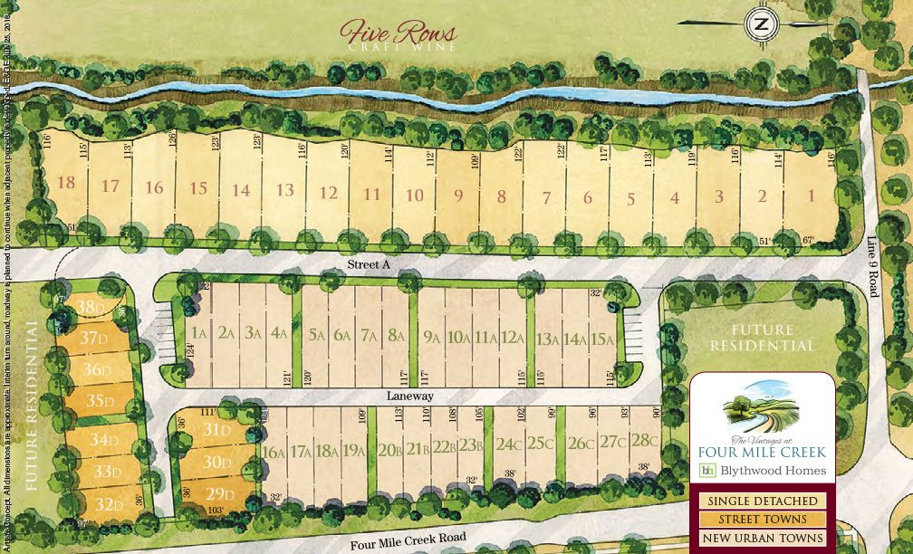 Site plan for Four Mile Creek in St. Davids, Ontario