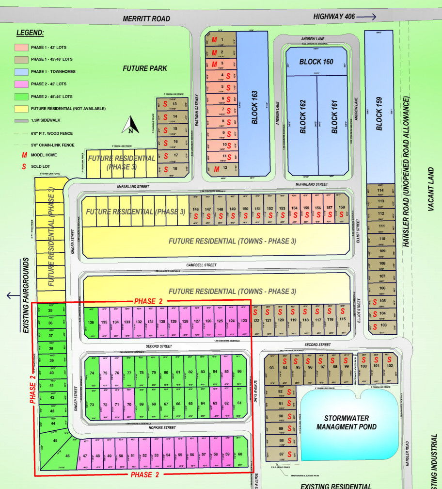 Site plan for Merritt Meadows in Thorold, Ontario