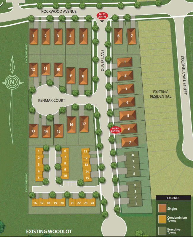 Site plan for Oakwood Estates in St. Catharines, Ontario