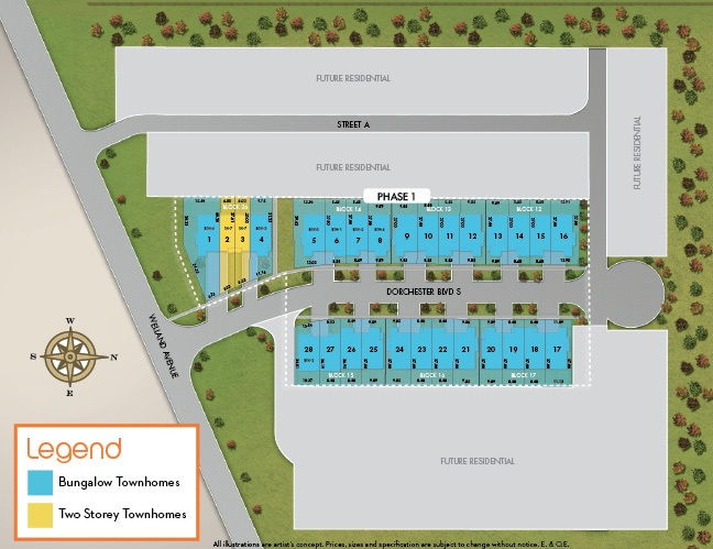 Site plan for The Enclave in St. Catharines, Ontario