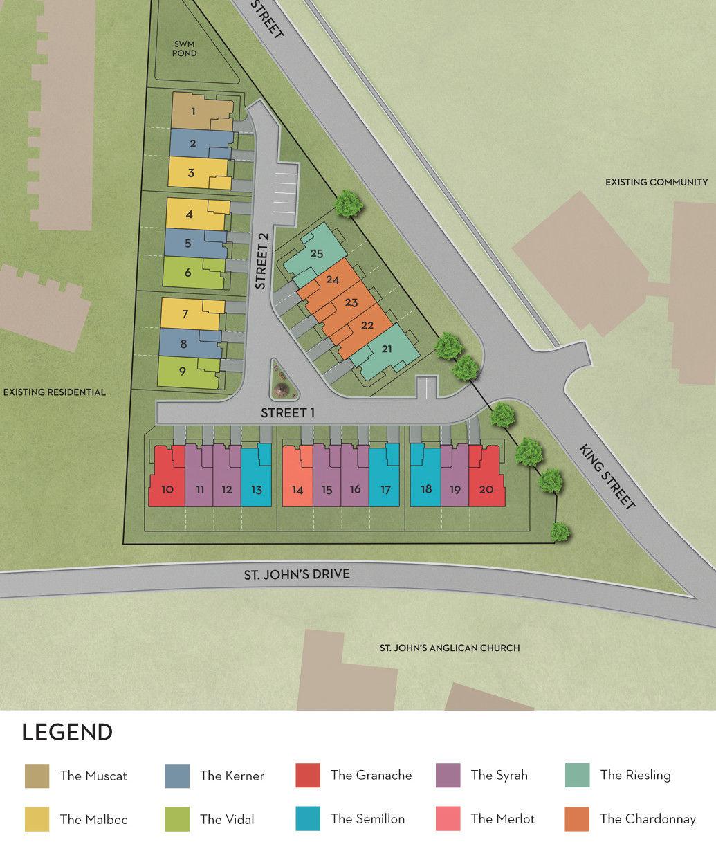 Site plan for The Kingsway at Jordan in Smithville, Ontario