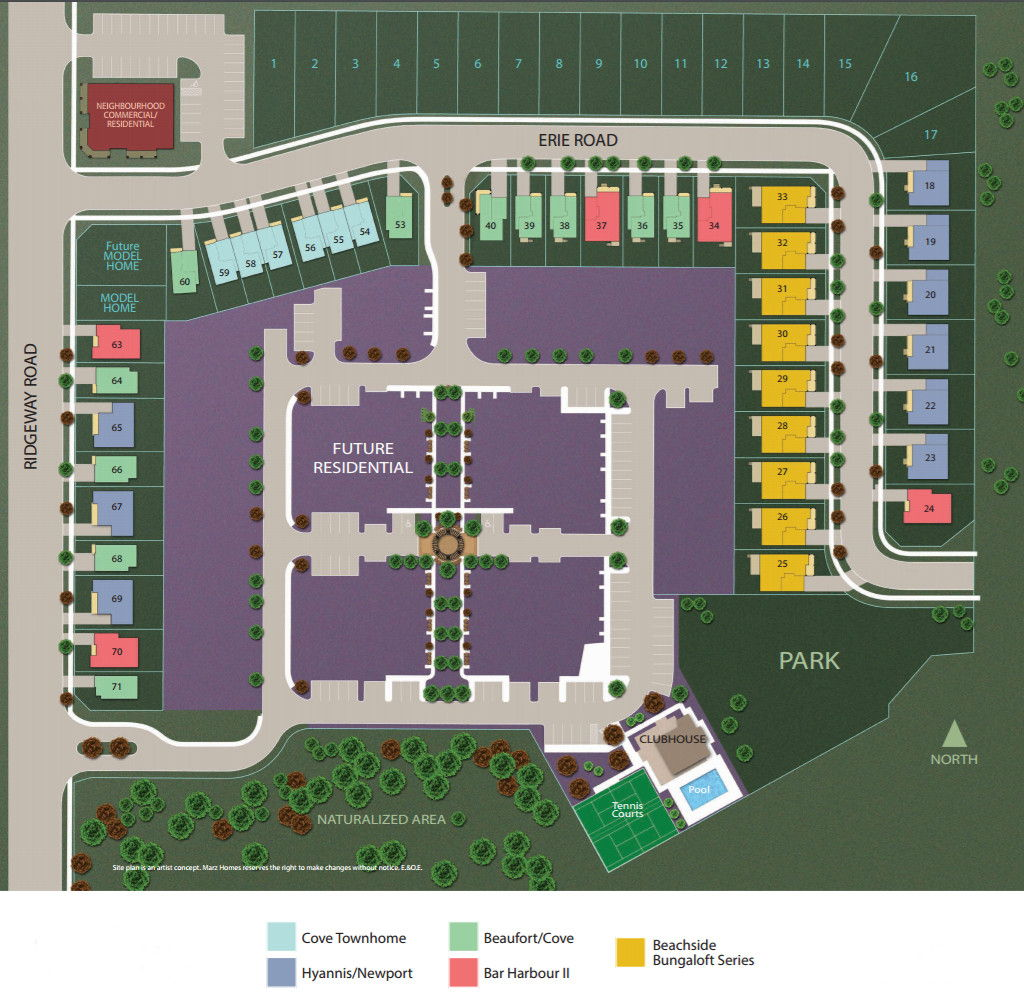 Site plan for South Coast Village in Crystal Beach, Ontario