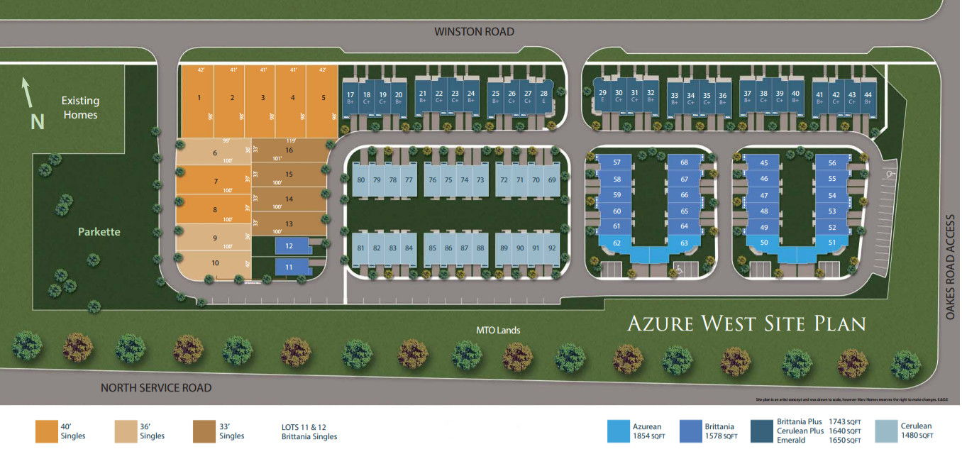 Site plan for Azure West in Grimsby, Ontario