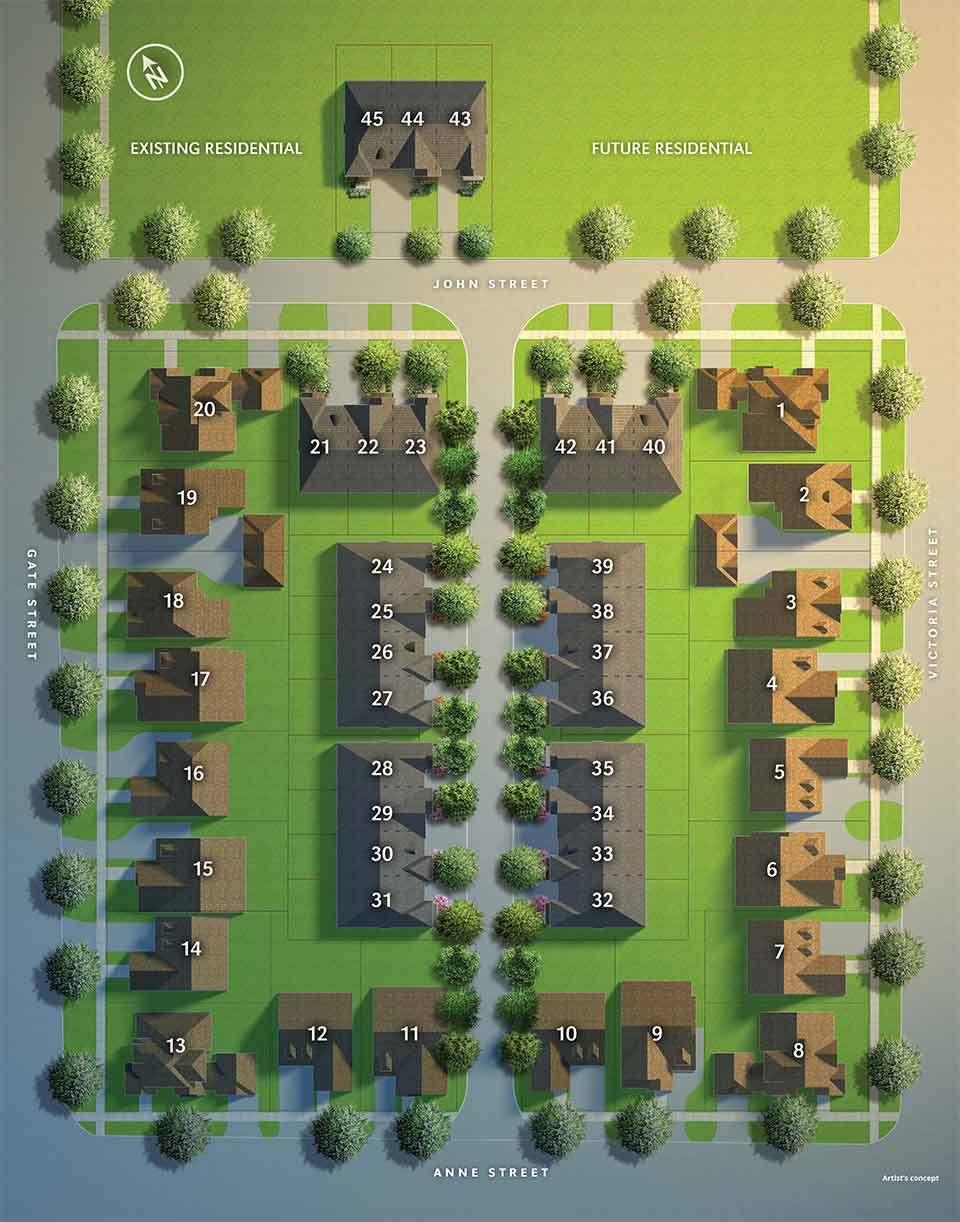 Site plan for Averton Square in Niagara-on-the-Lake, Ontario