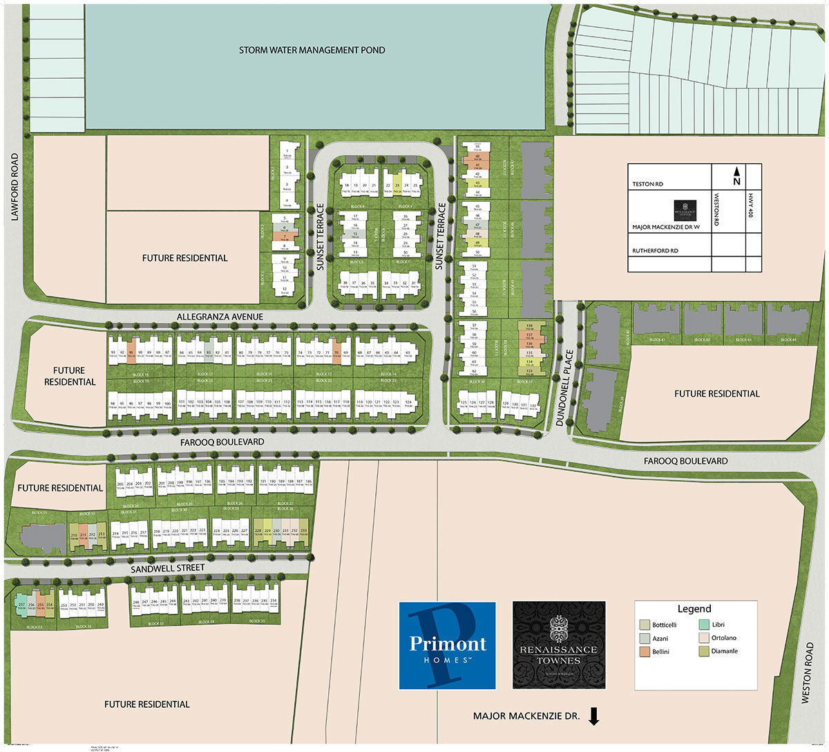 Site plan for Renaissance Townes in Vaughan, Ontario