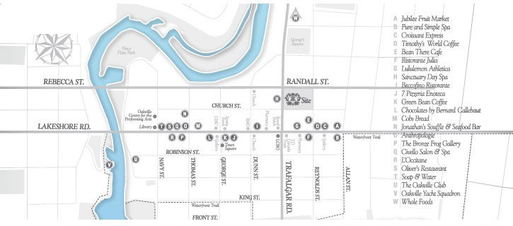 Site plan for The Randall in Oakville, Ontario