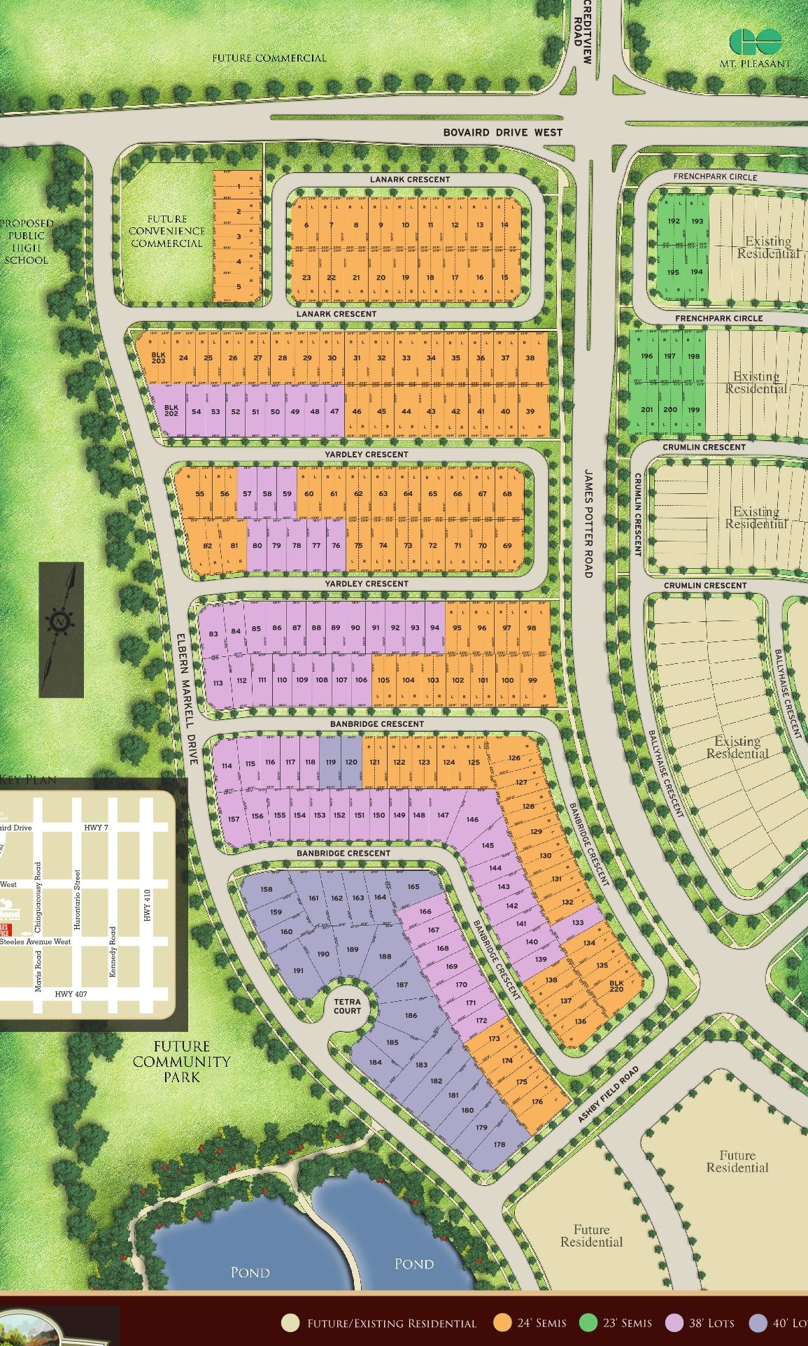 Site plan for Spring Valley Village in Brampton, Ontario