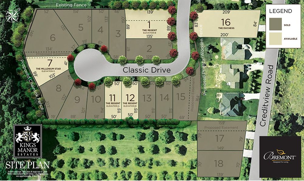 Site plan for King's Manor Estates in Brampton, Ontario