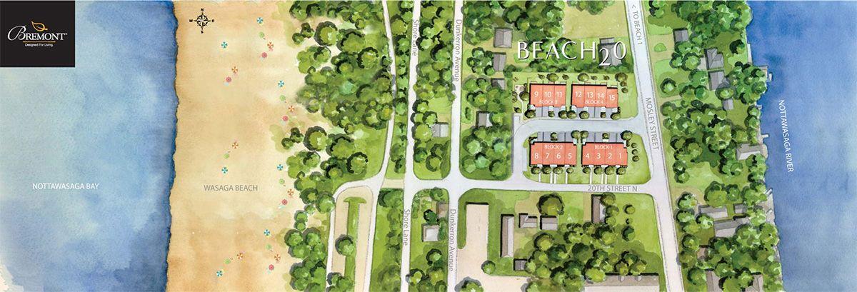 Site plan for Beach20 in Wasaga Beach, Ontario