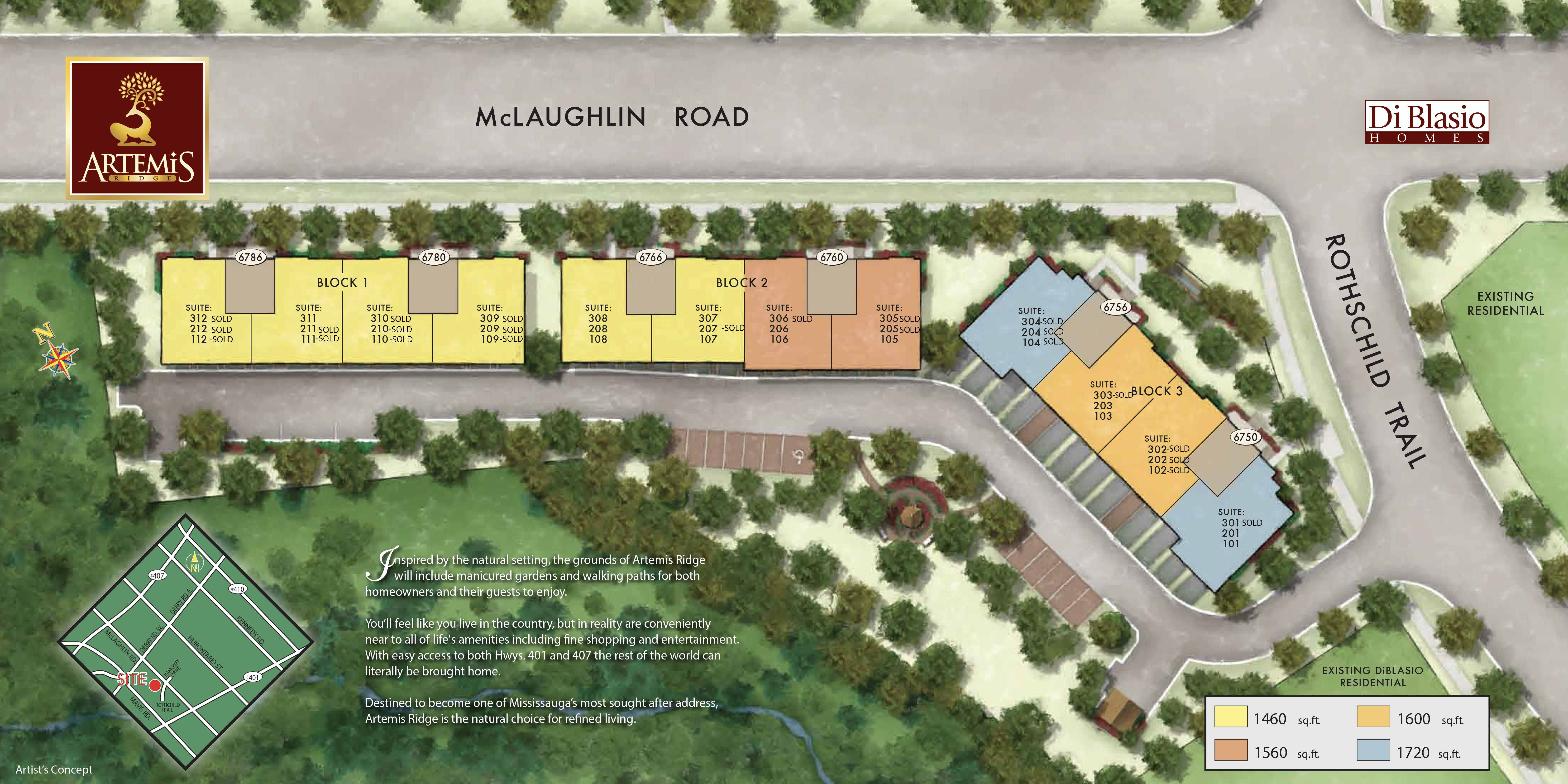 Site plan for Artemis Ridge in Mississauga, Ontario