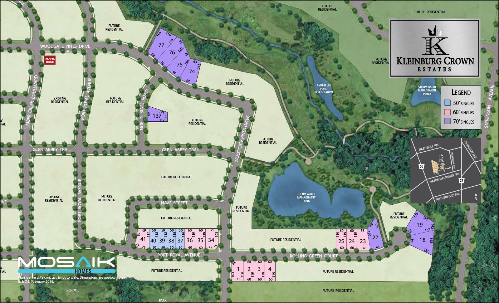 Site plan for Kleinburg Crown Estates in Kleinburg, Ontario