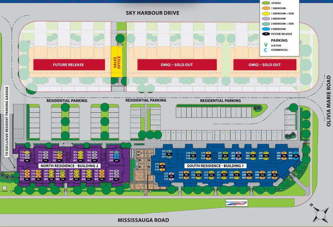 Site plan for Olivia Marie Gardens OMG in Brampton, Ontario