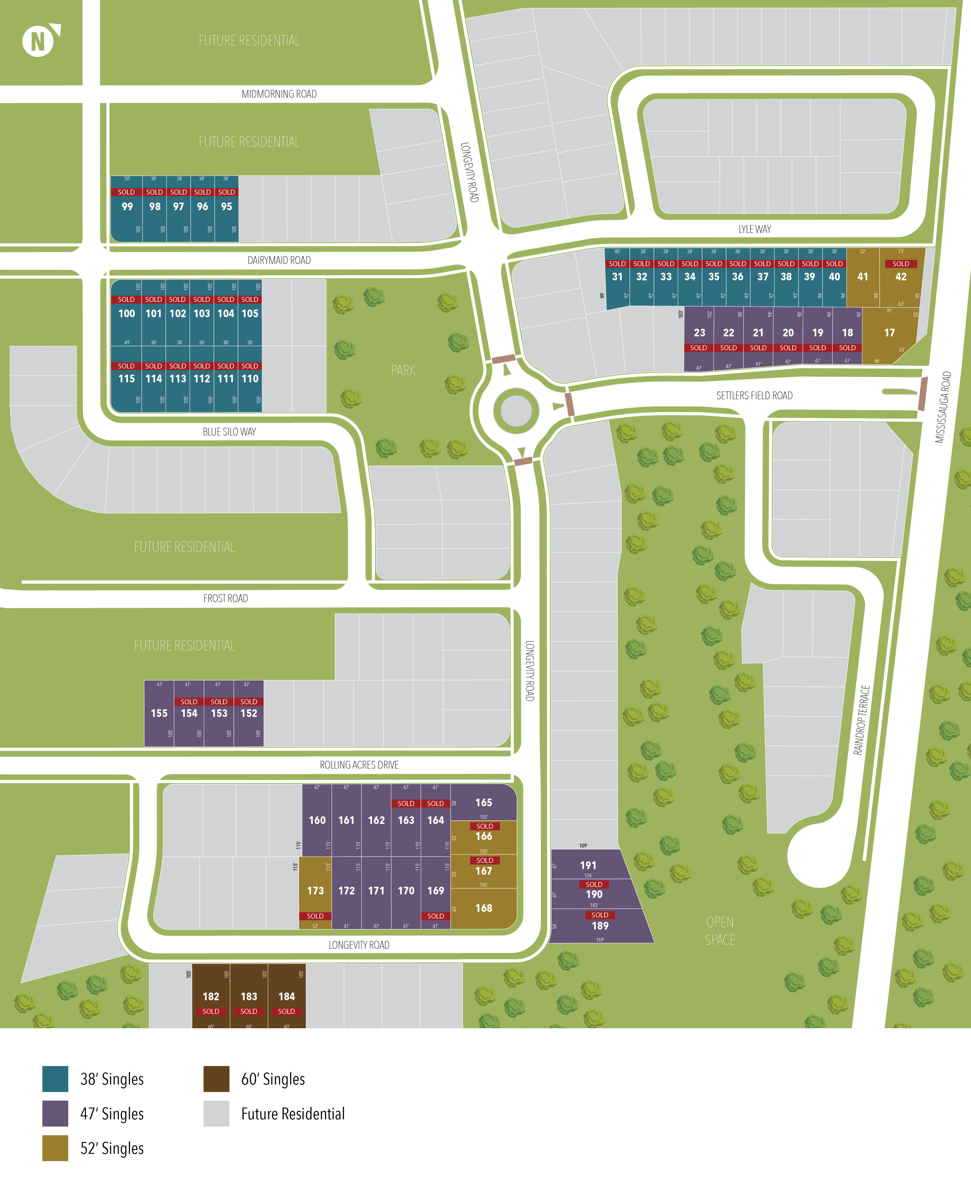 Site plan for Cleave View Estate in Brampton, Ontario