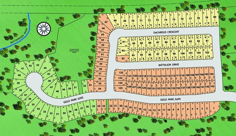 Site plan for Riverwalk in Angus, Ontario