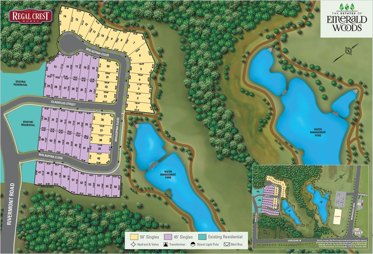 Site plan for The Estates of Emerald Woods in Brampton, Ontario