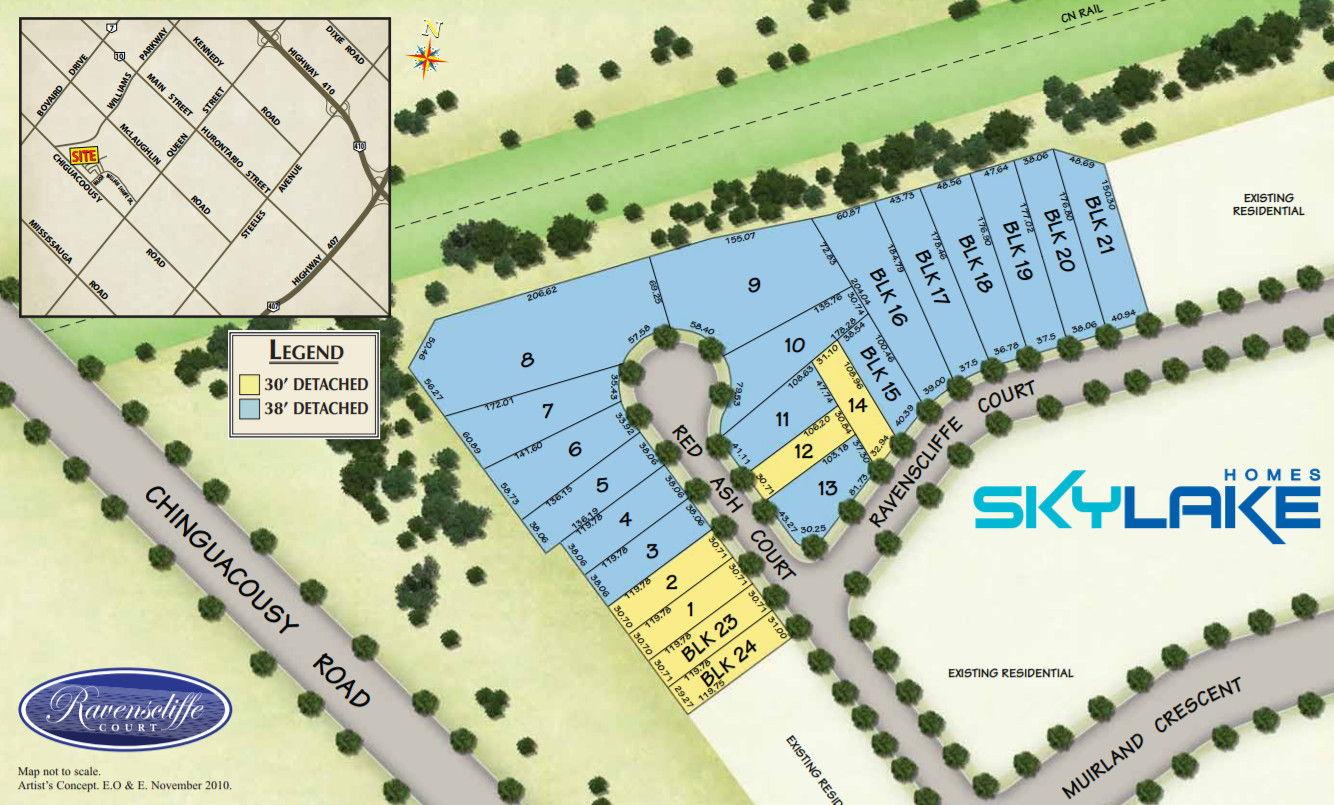 Site plan for Ravenscliffe Court in Brampton, Ontario